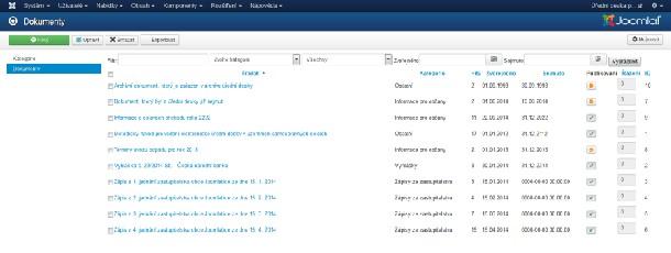 Přehled dokumentů v komponentě Úřední deska pro Joomla