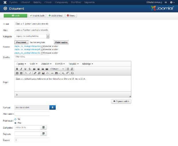 Detail dokumentu komponenty Úřední deska pro Joomla 3